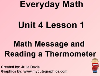 Everyday Math 1st Grade 4.1 Math Message and Reading a The