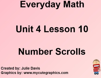 Everyday Math 1st Grade 4.10 Number Scrolls