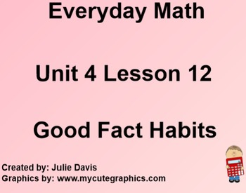 Everyday Math 1st Grade 4.12 Good Fact Habits