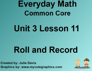 Everyday Math 4 Common Core Edition Kindergarten 3.11 Roll