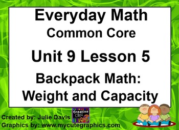 Everyday Math 4 EDM4 Common Core Edition 9.5 Backpack Math