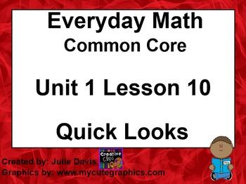 Everyday Math 4 EDM4 Common Core Edition Kindergarten 1.10