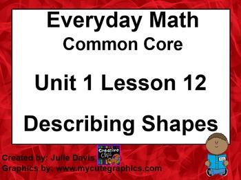 Everyday Math 4 EDM4 Common Core Edition Kindergarten 1.12