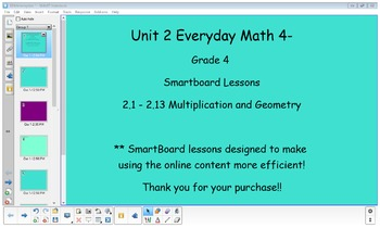 Everyday Math (version 4) Grade 4 SmartBoard- Unit 2 Mult and Geo