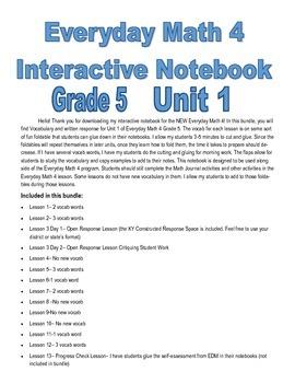 Everyday Math 4 Interactive Notebook 5th Grade Unit 1