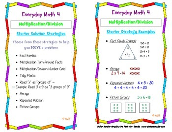 Everyday Math 4: Multiplication & Division Starter Strategy Card