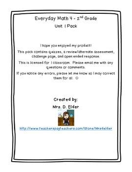 Everyday Math 4 Unit 1 Assessment Pack