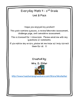 Everyday Math 4 Unit 8 Assessment Pack