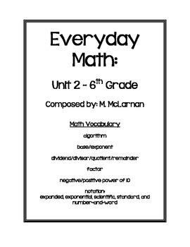 Everyday Math 6th Grade Vocabulary - Unit 2