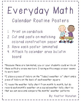 Everyday Math Calendar Routine Posters