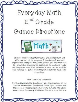 Everyday Math Game Directions 2nd Grade