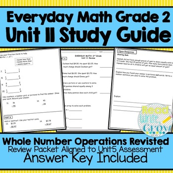 Everyday Math Grade 2 Unit 11 Study Guide/Review {Whole Nu