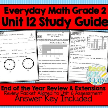 Everyday Math Grade 2 Unit 12 Study Guide/Review {End of Y