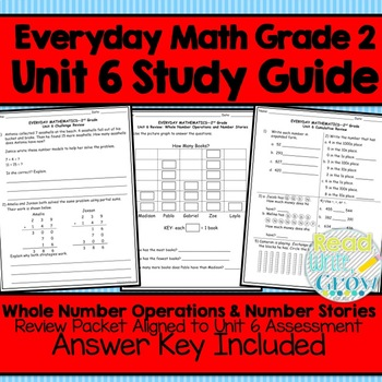 Everyday Math Grade 2 Unit 6 Study Guide/Review {Whole Num