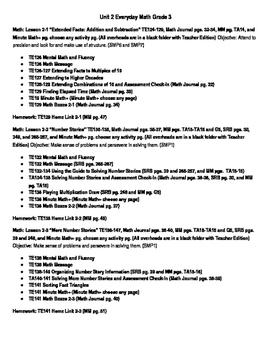 Everyday Math Grade 3 Lesson Plans Unit 2 (Orange book wit