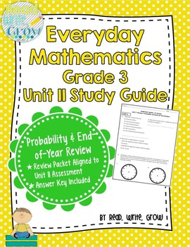 Everyday Math Grade 3 Unit 11 Review/Study Guide {Probabil