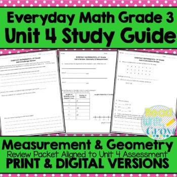 Everyday Math Grade 3 Unit 4 Review/Study Guide {Measureme