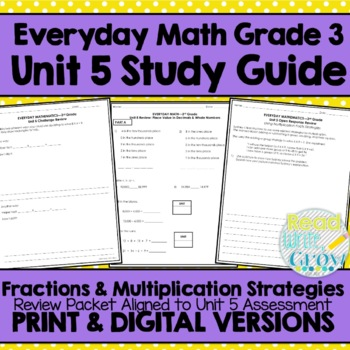 Everyday Math Grade 3 Unit 5 Review {Fractions & Multiplic