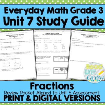 Everyday Math Grade 3 Unit 7 Review/Study Guide {Fractions