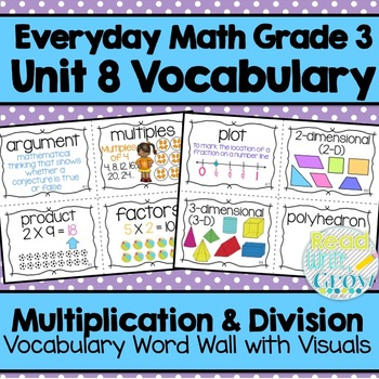Everyday Math: Grade 3-Unit 8 {Vocabulary Word Wall}
