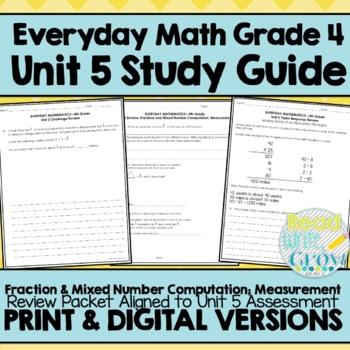 Everyday Math Grade 4 Unit 5 Review {Fractions & Measurement}