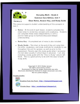Everyday Math - Grade 6 Common Core - Unit 7 Notes and Stu