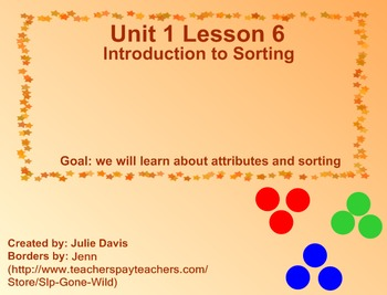 Everyday Math Kindergarten 1.6 Introduction to Sorting