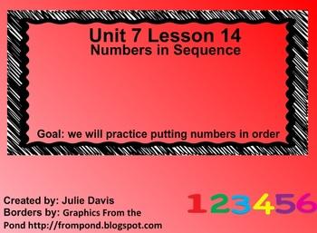 Everyday Math Kindergarten 7.14 Numbers in Sequence