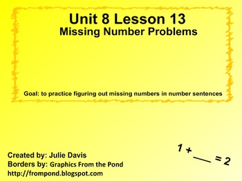 Everyday Math Kindergarten 8.13 Missing Number Problems