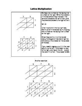 Everyday Math Lattice Multiplication and Magic 7 Division