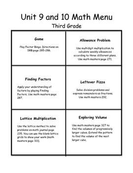 Everyday Math Menus-Unit 9 & 10