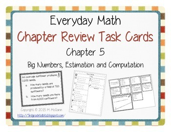 Everyday Math Review Task Cards - Chapter 5
