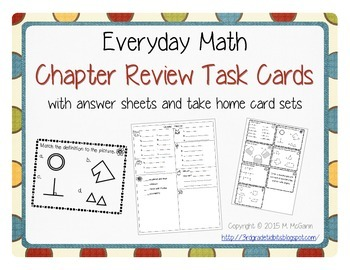Everyday Math Review Task Cards - Chapters 1-11 Bundle