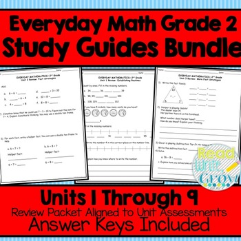 Everyday Math Grade 2 Study Guides Units 1-12 {4th Edition