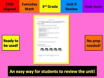 Everyday Math Study Guide Unit 9 Grade 3