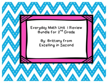 Everyday Math Unit 1 Review Bundle for 2nd Grade