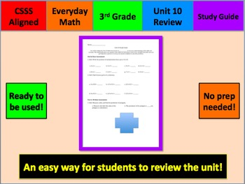 Everyday Math Unit 10 Study Guide Grade 3