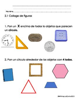 Everyday Math-Unit 2 Kindergarten Exit Slips in Spanish