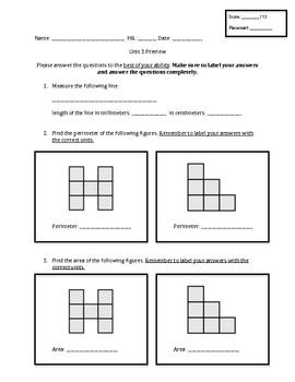Everyday Math Unit 3 - Third Grade Pretest