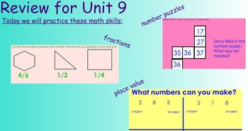 Everyday Math Unit 9 Review Activities for First Grade