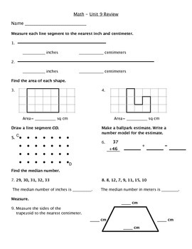 Everyday Math - Unit 9 Review Worksheet