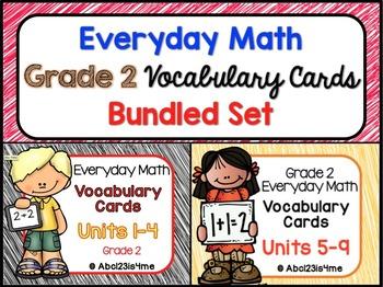 Everyday Math- EDM4 - Vocabulary Cards - Units 1-9 - Grade 2