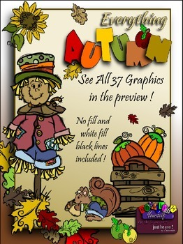 Everything Autumn Clipart (9 FREE Elements Included) Embel