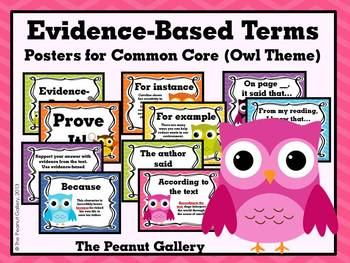 Evidence-Based Terms Posters for Common Core (Owl Theme)