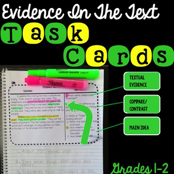 Evidence In The Text Task Cards Grade 2