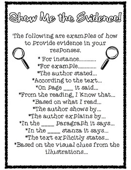Evidence Starters for Text Based Responses