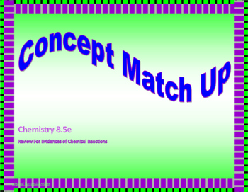 Evidence of Chemical Reactions Concept Match Up 8.5e