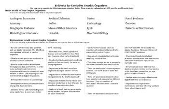 Evidence of Evolution Graphic Organizer / Notes / Fishbone