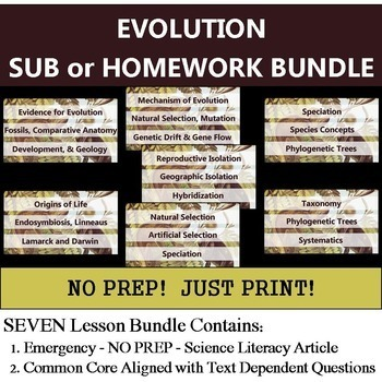 Evolution Homework Bundle - NO PREP Sub - Common Core Literacy