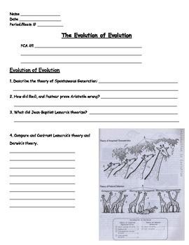 Evolution - The Evolution of Evolution Worksheet